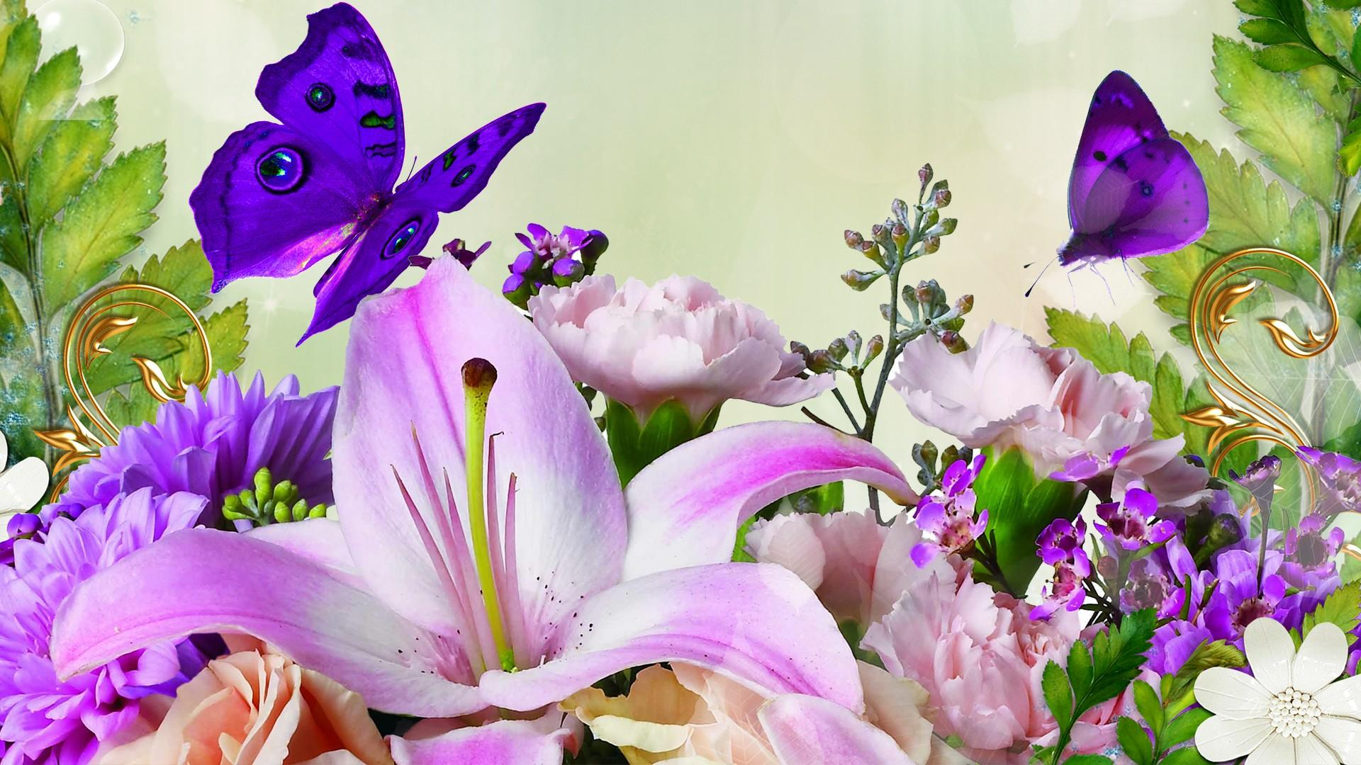Spring Flowers And Butterflies Wallpapers Gallery