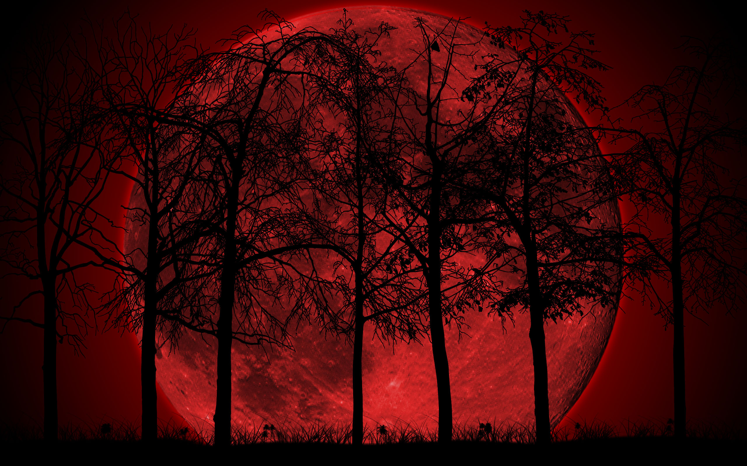 Group Of Dark Red Moon Wallpaper Background