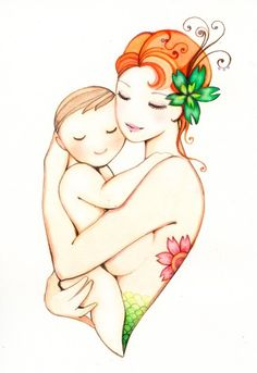 Mother And Baby Love Drawing 7
