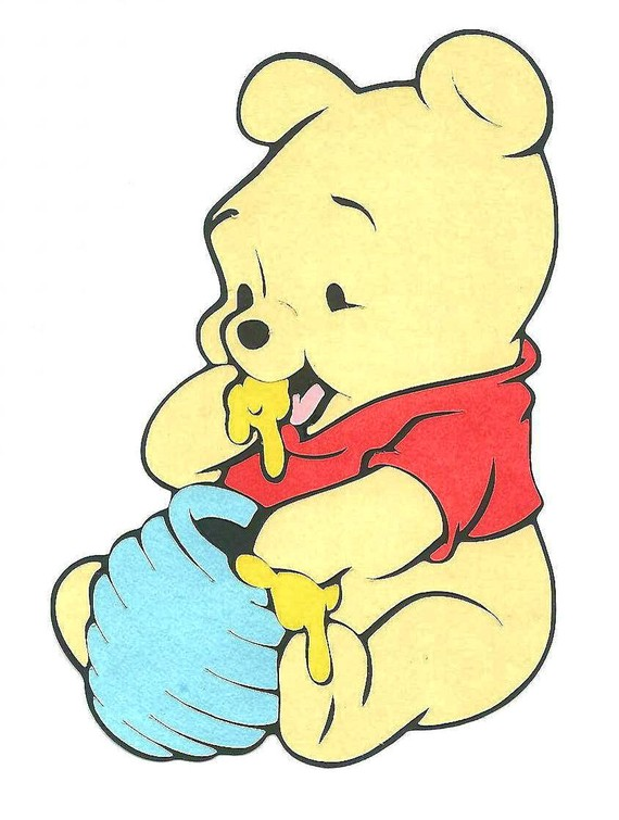 Free baby pooh eating honey coloring pages