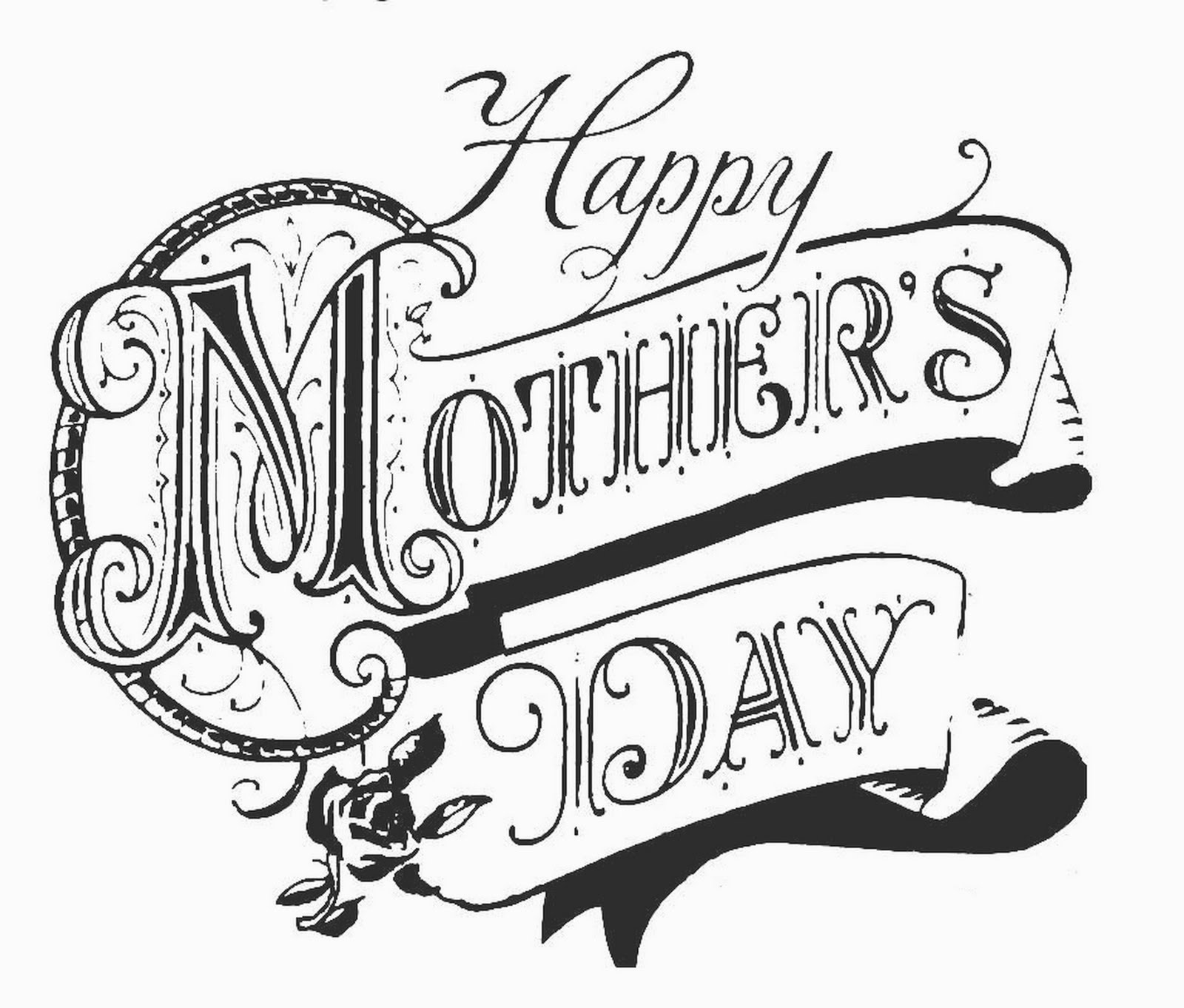 Happy Mothers Day Card Black And White 3