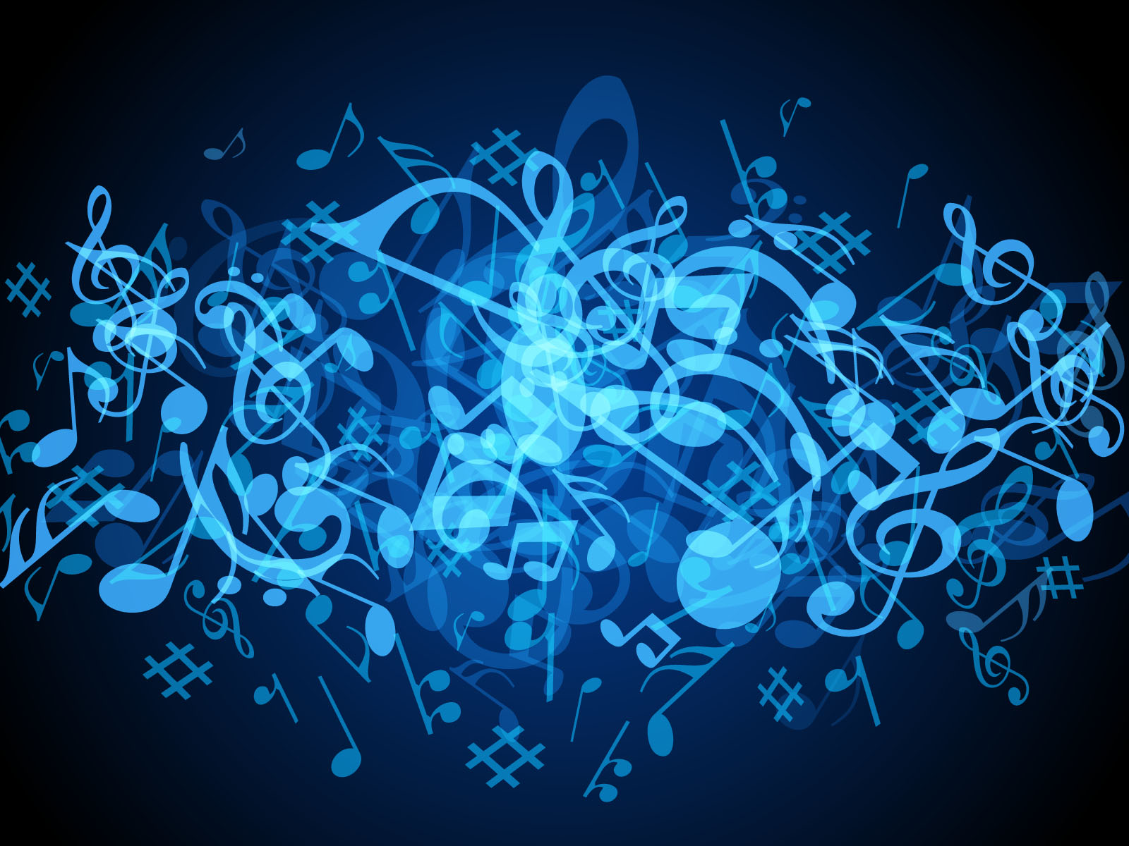 Blue Music Notes Background (1): funmozar.com/music-wallpaper