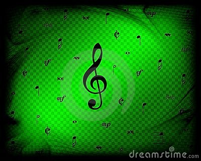 Green Music Notes Background 2
