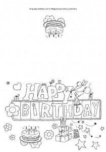 Happy Birthday Cards To Print Black And White 9 210×300