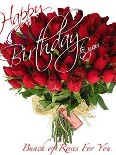 Happy Birthday With Red Flowers