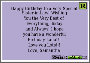 Happy Birthday Sister In Law Ecards 6 300×210