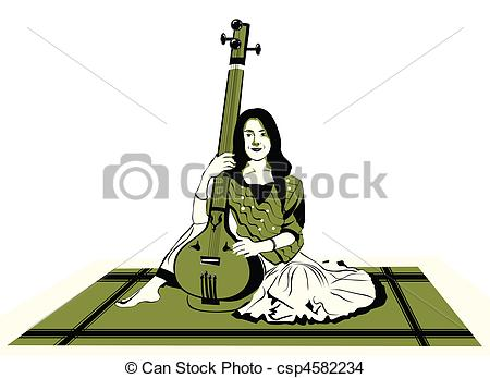 Indian Music Instruments Clipart 14