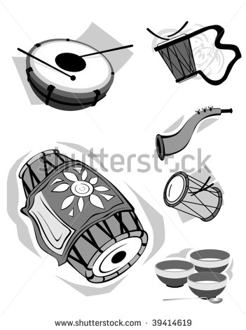 Indian Music Instruments Vector 11