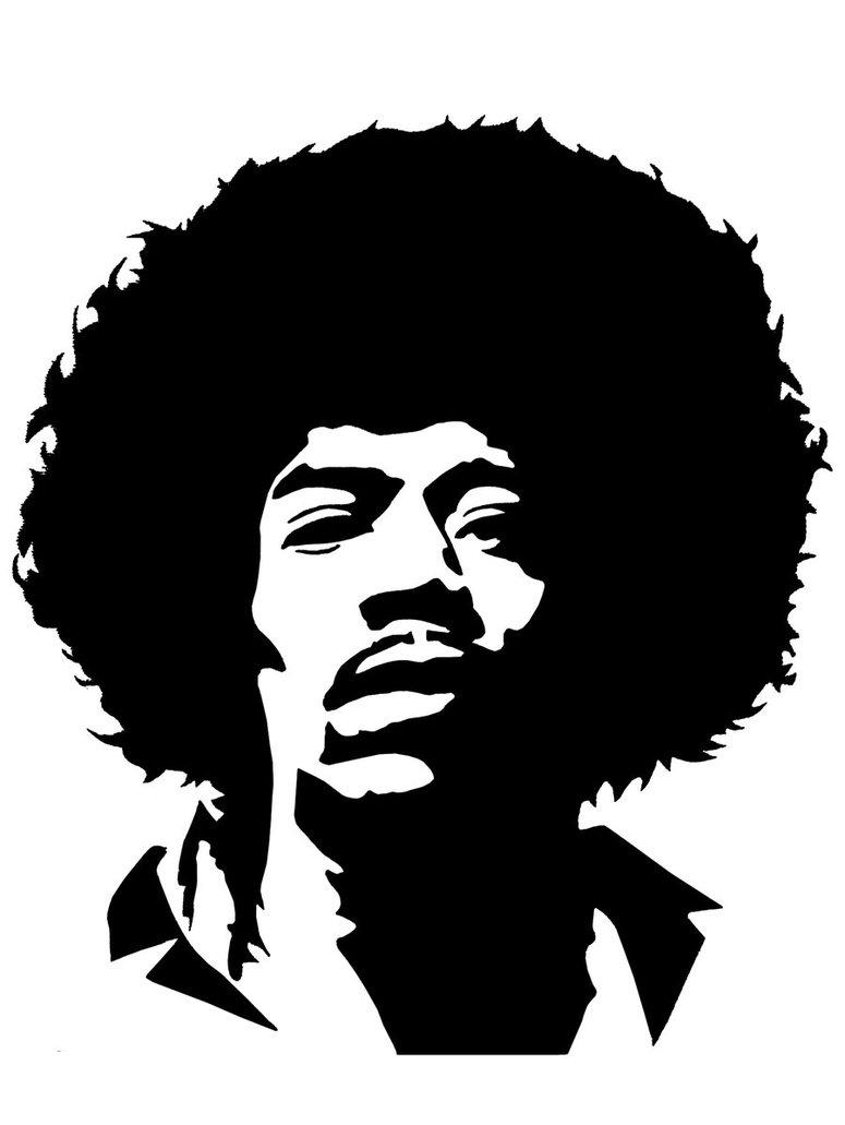 Jimi Hendrix Face Stencil 3