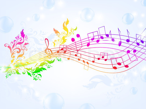 Rainbow Music Notes Background 2