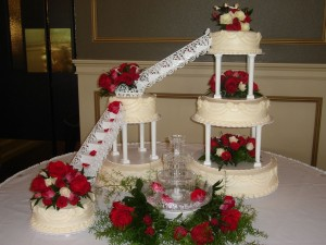 Red And White Wedding Cakes With Fountains 2 300×225