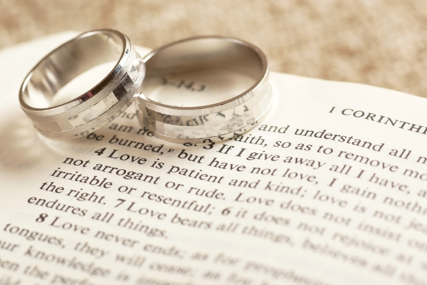Pictures of wedding rings on bible