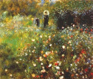 Woman with a Parasol in a Garden 300×256