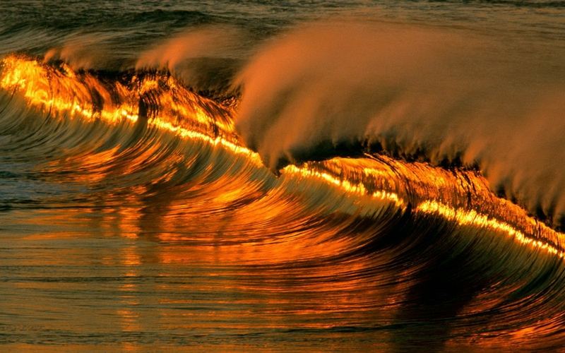 Ocean Waves Sunset 4