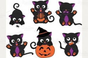 Cute Halloween Cat Clipart 300×199