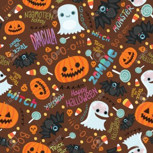 Cute Halloween Pattern Background 300×300
