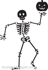 Halloween Clip Art Black And White Skeleton1 204×300