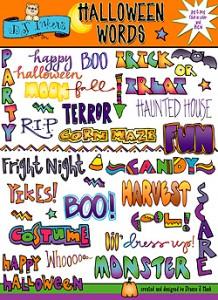 Halloween Clip Art Words1 218×300