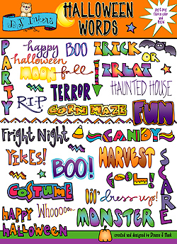 Halloween Clip Art Words1