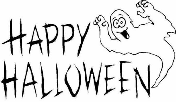 Happy Halloween Clip Art Black And White1