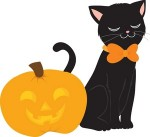 Orange Halloween Cat Clip Art8 150×137