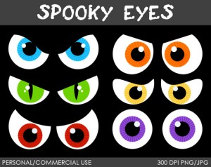 Spooky Halloween Eyes Clip Art 300×238