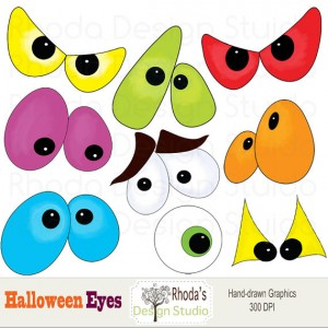 Spooky Halloween Eyes Clip Art2 300×300