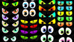 Spooky Halloween Eyes Clip Art3