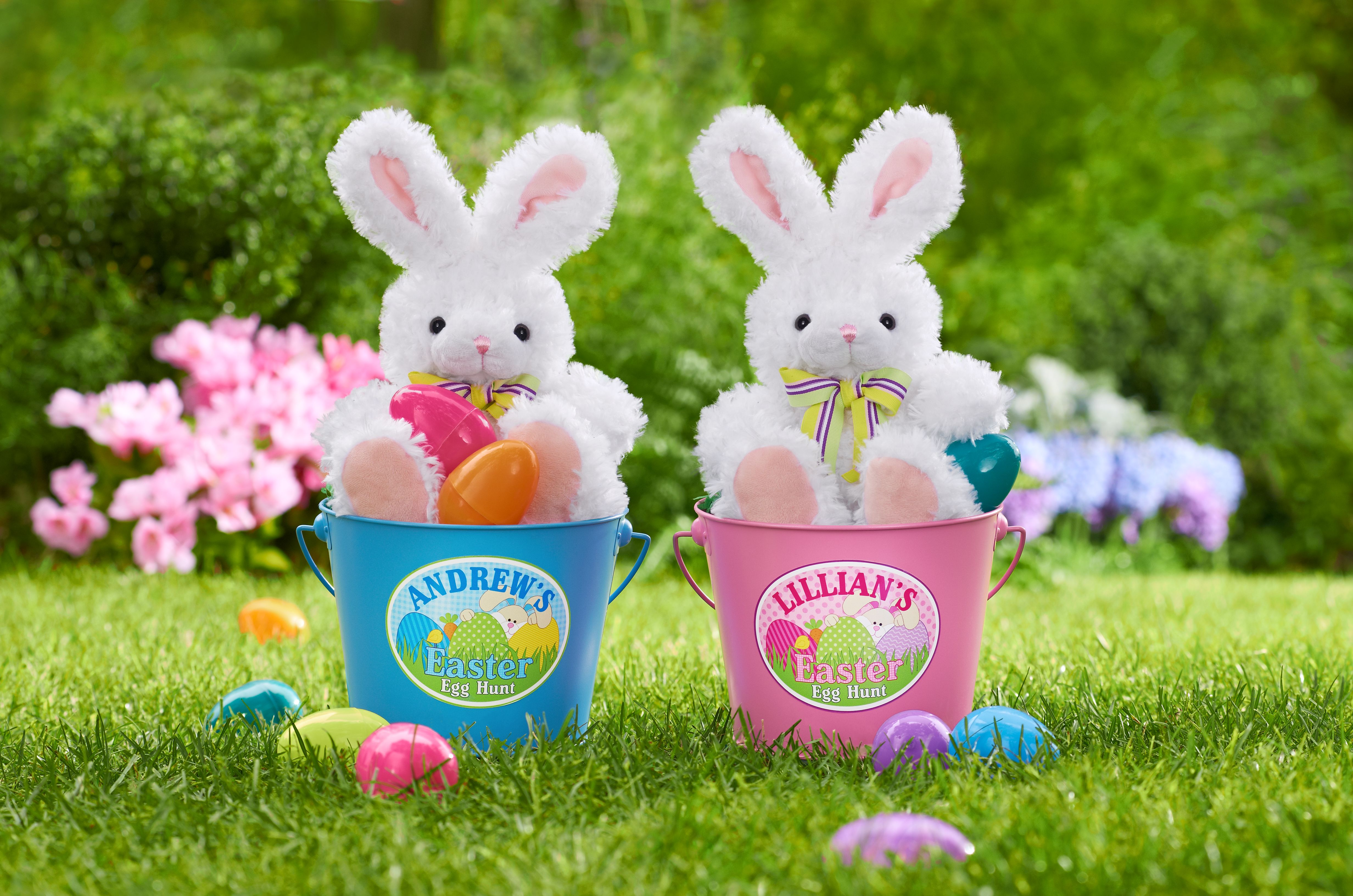 Bunny Rabbits with Bow Ties in Personalized Easter Bucket Baskets